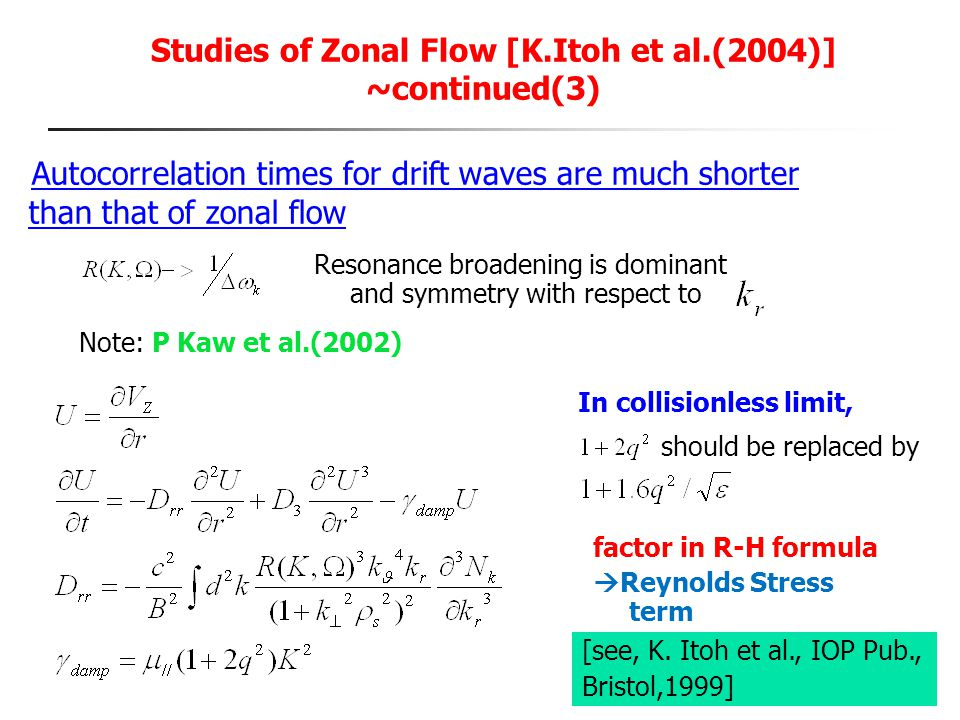 Studies of Zonal Flow [K.Itoh et al.(2004)] ~continued(3)